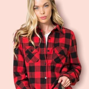 Fleece Lined Plaid Flannel Shirt Jacket Shacket  1X Button Up NWT Red Check